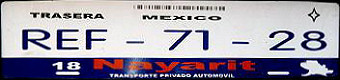 Nayarit Mexico License Plate Placa European Euro sized