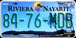 Nayarit Mexico License Plate Placa taxi publico