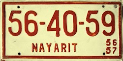 Nayarit Mexico License Plate Placa commercial truck trailer camion remolque publico