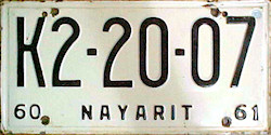 Nayarit Mexico License Plate Placa commercial bus autobus taxi publico