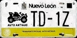 Nuevo Leon Mexico License Plate Placa antique auto antiguo