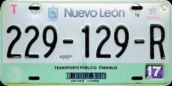 Nuevo Leon Mexico License Plate Placa commercial bus autobus publico