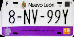 Nuevo Leon Mexico License Plate Placa dealer demostracion