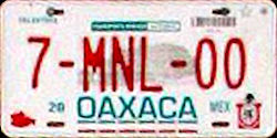 Oaxaca Mexico License Plate Placa bus autobus