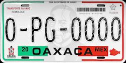 Oaxaca Mexico License Plate Placa trailer remolque
