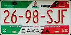 Oaxaca Mexico License Plate Placa taxi publico