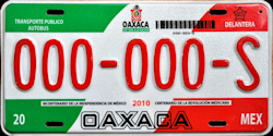 Oaxaca Mexico License Plate Placa commercial bus autobus publico