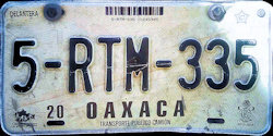 Oaxaca Mexico License Plate Placa commercial truck camion publico