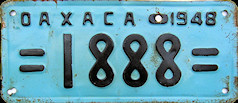 Oaxaca Mexico License Plate Placa dealer demostracion