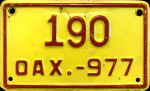 Oaxaca Mexico License Plate Placa motorcycle motocicleta