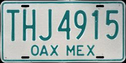 Oaxaca Mexico License Plate Placa