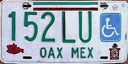 Oaxaca Mexico License Plate Placa handicapped discapacitados