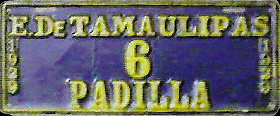 Padilla Tamaulipas Mexico License Plate Placa