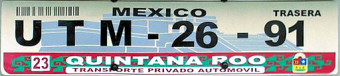 Quintana Roo Mexico License Plate Placa European Euro sized