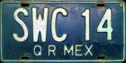 Quintana Roo Mexico License Plate Placa commercial truck camion publico