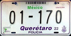 Queretaro Mexico License Plate Placa police policia