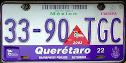 Queretaro Mexico License Plate Placa taxi publico