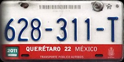 Queretaro Mexico License Plate Placa commercial bus autobus publico