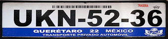 Queretaro Mexico License Plate Placa European Euro sized