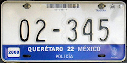 Queretaro Mexico License Plate Placa polica policia