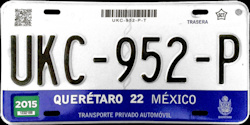 Queretaro Mexico License Plate Placa
