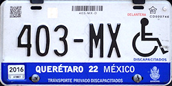 Queretaro Mexico License Plate Placa handicapped discapacitados