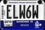 Queretaro Mexico License Plate Placa motorcycle motocicleta