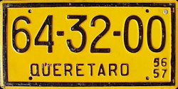 Queretaro Mexico License Plate Placa commercial bus taxi autobus publico