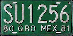 Queretaro Mexico License Plate Placa truck camion