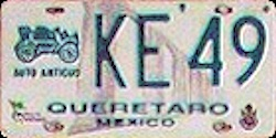 Queretaro Mexico License Plate Placa antique auto antiguo