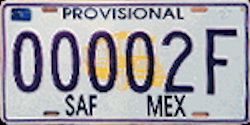 SAF Mexico License Plate Placa temporary provisional