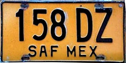 SAF Mexico License Plate Placa truck carga