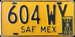 SAF Mexico License Plate Placa trailer remolque