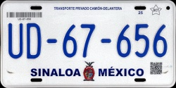 Sinaloa Mexico License Plate Placa truck camion