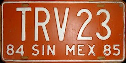 Sinaloa Mexico License Plate Placa commercial truck camion publico