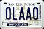 San Luis Potosi Mexico License Plate Placa motorcycle motocicleta