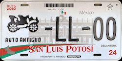 San Luis Potosi Mexico License Plate Placa antique auto antiguo