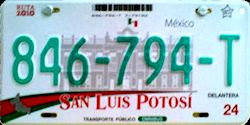 San Luis Potosi Mexico License Plate Placa commercial bus autobus publico