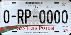 San Luis Potosi Mexico License Plate Placa trailer remolque