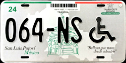 San Luis Potosi Mexico License Plate Placa handicapped discapacitados