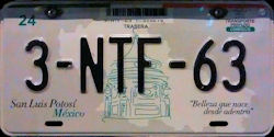 San Luis Potosi Mexico License Plate Placa bus autobus
