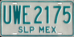 San Luis Potosi Mexico License Plate Placa
