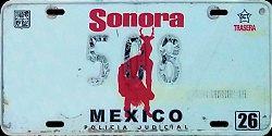 Sonora Mexico License Plate Placa police policia