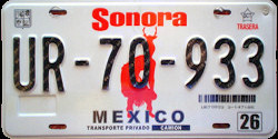 Sonora Mexico License Plate Placa truck camion