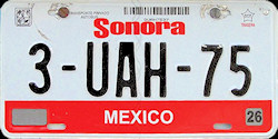 Sonora Mexico License Plate Placa bus autobus
