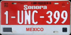 Sonora Mexico License Plate Placa commercial truck camion publico