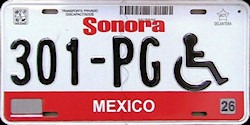 Sonora Mexico License Plate Placa handicapped discapacitados