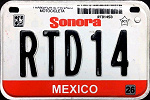Sonora Mexico License Plate Placa motorcycle motocicleta