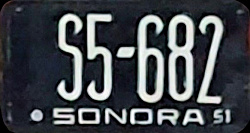 Sonora Mexico License Plate Placa non-passenger