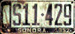 Sonora Mexico License Plate Placa commercial publico